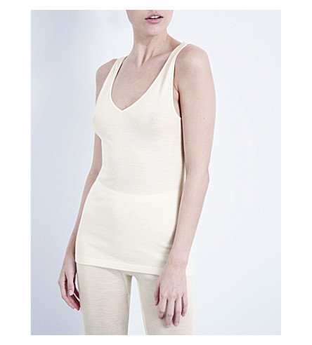 HANRO Wool and silk-blend top (Cyg:+cygne