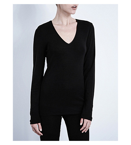 HANRO Wool and silk-blend top (Noir:+noir