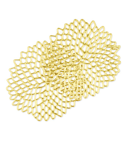 CHILEWICH Dahlia gold coasters 6-pack