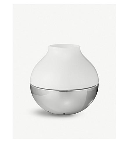 GEORG JENSEN Koppel hurricane glass and stainless steel candleholder 23cm