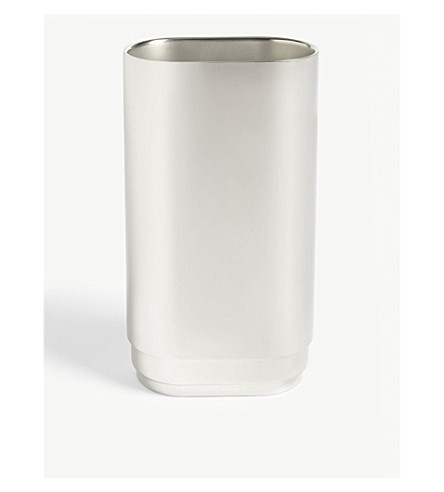 GEORG JENSEN Manhattan large stainless steel vase 28cm