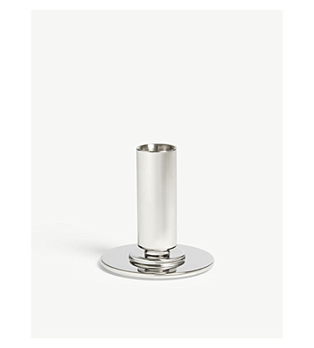 GEORG JENSEN Manhattan small stainless steel candle holder 8.5cm