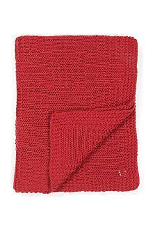LINUM Red chunky kint throw