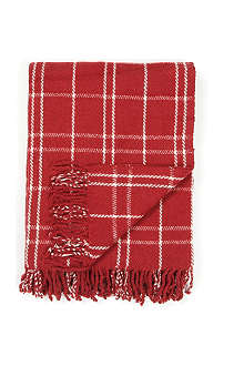 LINUM Red and white check throw