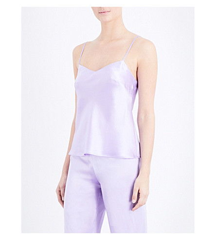 MARJOLAINE Soie Unie silk-satin camisole (Lavande