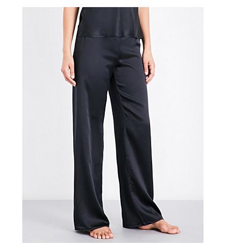 MARJOLAINE Soie Unie silk-satin pyjama bottoms (Black