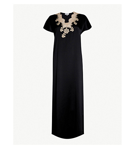 MARJOLAINE Flavia capped sleeve silk-satin long nightdress (Noir/sable
