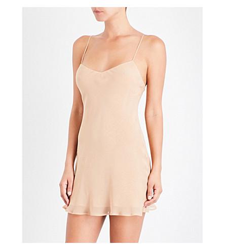 MARJOLAINE V-neck silk-chiffon chemise (Nude