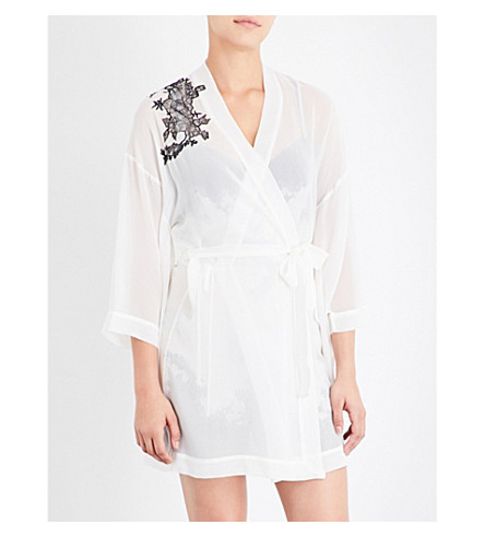 MARJOLAINE Lace-trim silk-chiffon robe (Naturel/noir