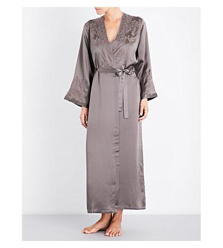 MARJOLAINE Lace-trim silk-satin robe (Noix+gris