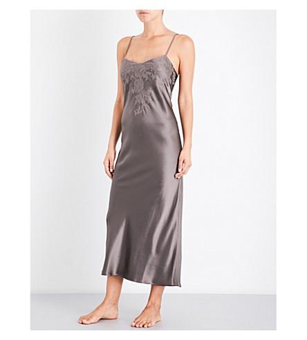 MARJOLAINE Lace-trim silk-satin chemise (Noix+gris