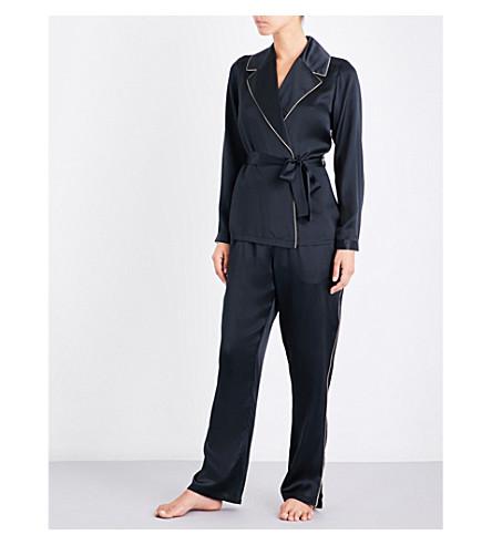 MARJOLAINE Tie-waist silk-satin pyjama set (Black/sauge