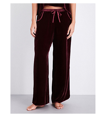 NK IMODE Satin-trims velvet trousers (Merlot
