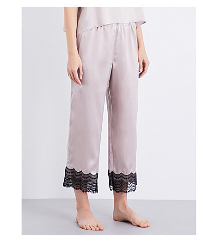 NK IMODE Lace-detailed silk-satin pyjama bottoms (Sand