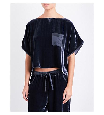 NK IMODE Boxy-fit velvet T-shirt (Merlot