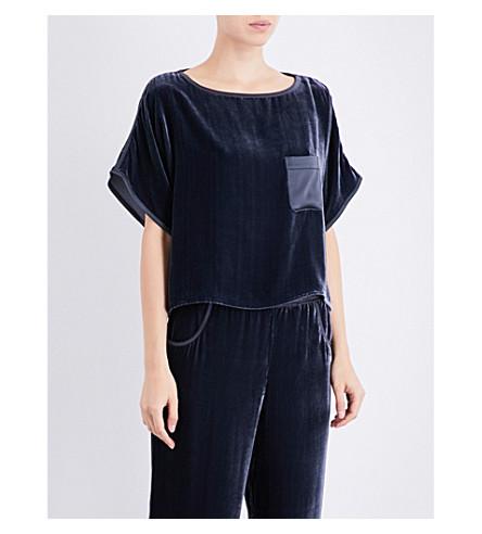 NK IMODE Boxy-fit velvet T-shirt (Opium