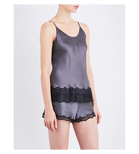 NK IMODE Lace-detailed silk-satin pyjama camisole (Charcoal