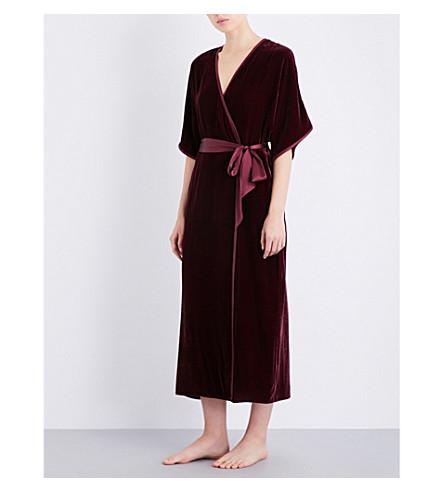 NK IMODE Tie-belt velvet robe (Merlot
