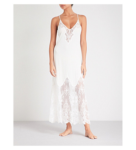 NK IMODE Sizzling stretch-silk and floral-lace slip dress (Ivory