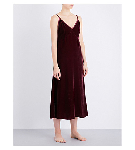 NK IMODE V-neck velvet lounge dress (Merlot