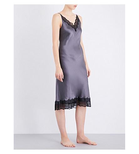 NK IMODE Lace-detailed silk-satin nightdress (Charcoal