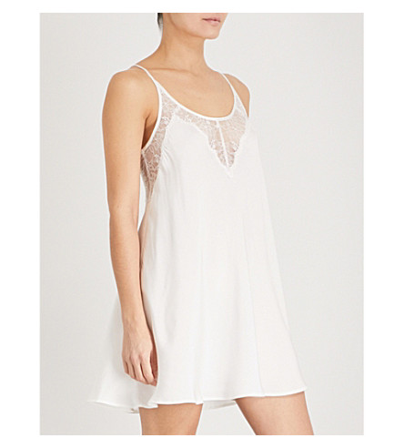 NK IMODE Lace-trimmed silk-satin nightdress (Ivory