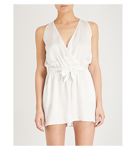 NK IMODE Thassia silk-satin and devoré playsuit (Cloud