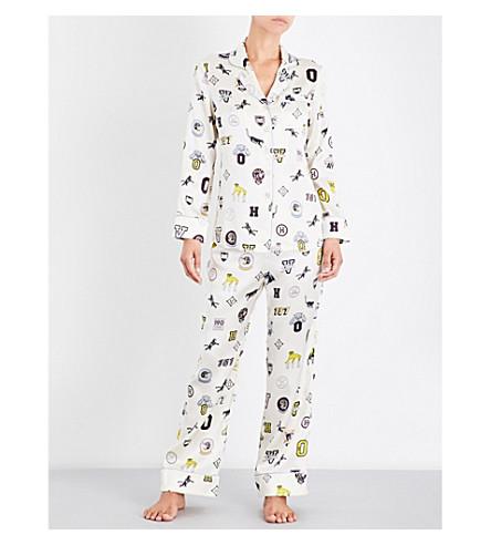 OLIVIA VON HALLE Lila Crystal silk-satin pyjama set (Crystal