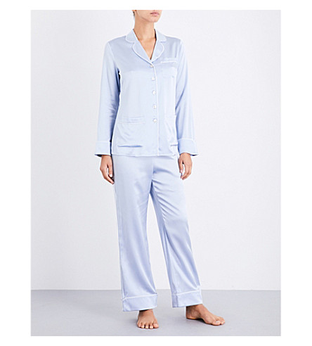 OLIVIA VON HALLE Coco silk-satin pyjama set (Sky