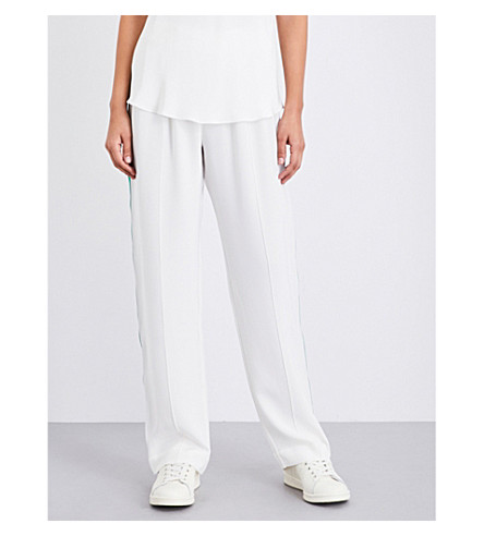 OLIVIA VON HALLE Gio striped-detail silk jogging bottoms (Ivory