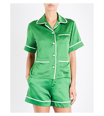 OLIVIA VON HALLE Millicent Green silk-satin pyjama set (Green+flash