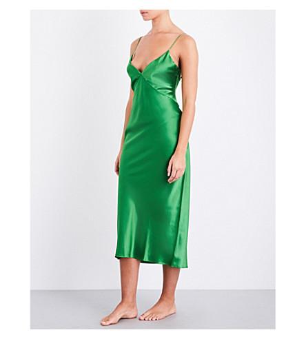 OLIVIA VON HALLE Issa silk-satin slip dress (Green+flash