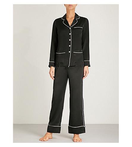 OLIVIA VON HALLE Coco silk-satin pyjama set (Jet+black