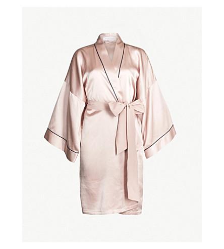 OLIVIA VON HALLE Contrast piping silk-satin robe (Oyster 19