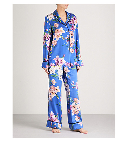 OLIVIA VON HALLE Lila Briella silk-satin pyjama set (Blue+floral