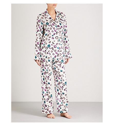 丝绸缎睡衣套装 (奶油 + 印花