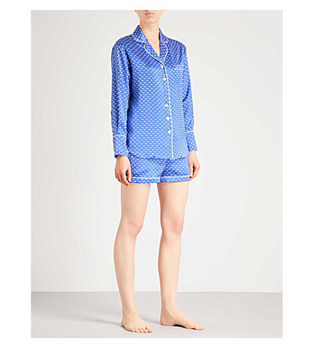 OLIVIA VON HALLE Alba Lynette silk-satin pyjama set (Blue+print