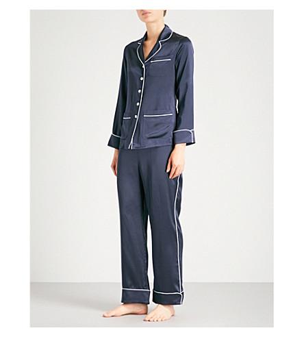OLIVIA VON HALLE Coco silk-satin pyjama set (Navy