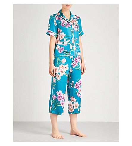 OLIVIA VON HALLE Daria Barbara silk-satin pyjama set (Teal+floral