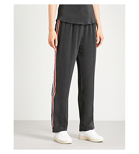 OLIVIA VON HALLE Gio striped-detail silk jogging bottoms (Jet+black