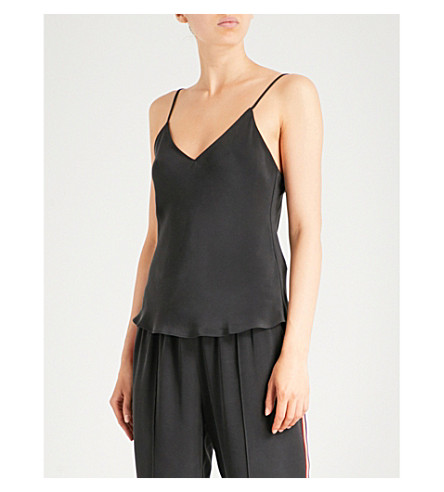 OLIVIA VON HALLE Lily V-neck silk top (Jet+black