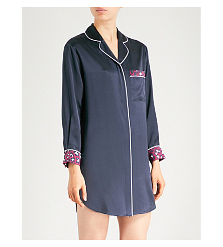OLIVIA VON HALLE Poppy Marilyn silk-satin sleep shirt (Navy+print