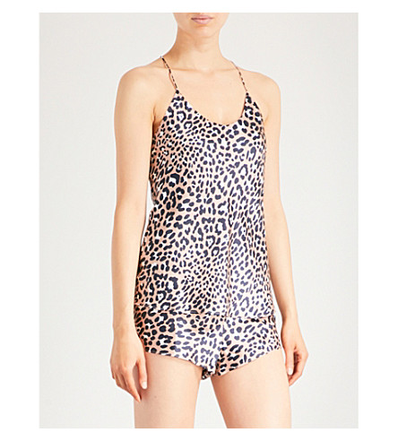 OLIVIA VON HALLE Bella Raelyn silk-satin pyjama set (Leopard+print