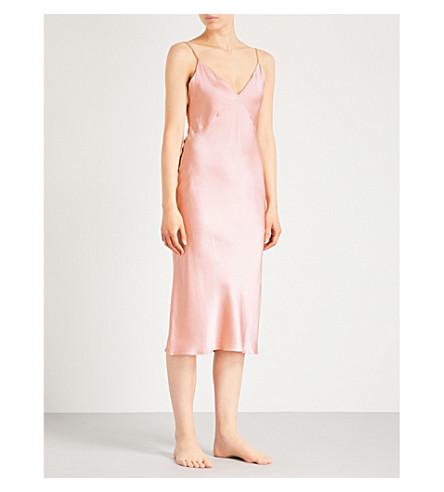 丝绸缎滑连衣裙 (牡蛎