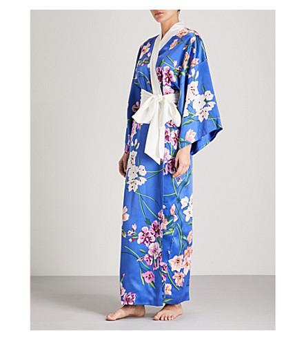 OLIVIA VON HALLE Queenie Briella silk-satin robe (Blue+floral