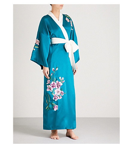 OLIVIA VON HALLE Queenie Kika silk-satin robe (Teal+embroidery