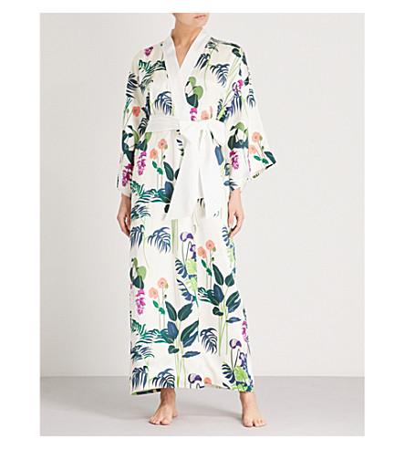 OLIVIA VON HALLE Queenie floral silk-satin robe (George