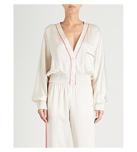 MORGAN LANE Varsity silk-satin jacket (Cream