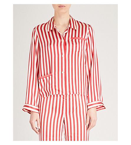 MORGAN LANE Ruthie silk-charmeuse pyjama top (Cream+cherry