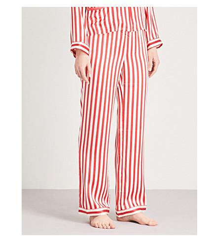 MORGAN LANE Chantal silk-charmeuse pyjama trousers (Cream+cherry